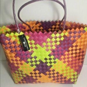 Ladies Multi Color Tote Bag Pool Plastic Woven